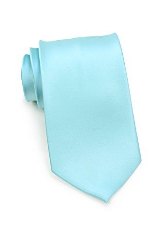 Bows-N-Ties Men's Necktie Solid Color Microfiber Satin Tie 3.25 Inches (Pool Blue) ()