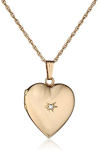 14k Yellow Gold Diamond-Accent Heart Locket Necklace, 18'' by Amazon Collection