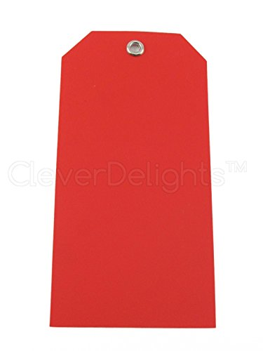 100 Pack - CleverDelights Red Plastic Tags - 4.75