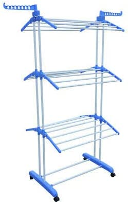 """66"""" 3 Tier Folding Clothes Drying Rack Laundry Organizer Stand Hanger Dryer Storage Rolling Clothes Hanger for Indoor Outdoor"""