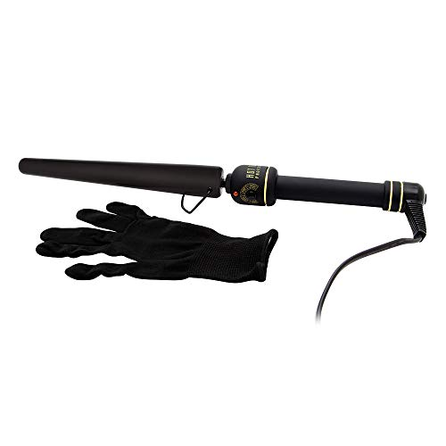Hot Tools Professional 1 1/4 Inch Black Gold XL Tapered Curling Iron/Wand Model No. HT1852XLBG (Hot Tools Nano Ceramic Tapered Curling Iron)