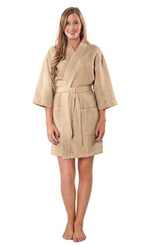 Turquaz Linen Lightweight Knee Length Waffle Kimono Bridesmaids Spa Robe (Taupe, ()