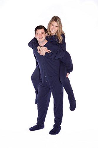 Jersey Knit Footed Pajamas (Big Feet PJs Navy Jersey Knit Adult Footed Pajamas NO Drop Seat)