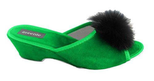 Aveente - Zapatos de Terciopelo para mujer Verde