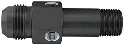 "Allstar ALL90045 Black Anodized Aluminum 1/2"" Length 12AN Male to 1/2 NPT Male 3- Ported Oil Inlet Fitting with 1/8 NPT Port"