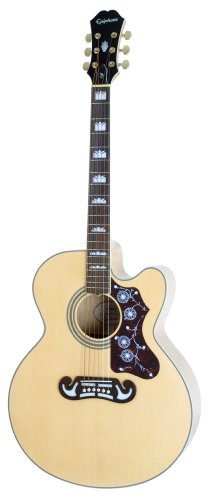 Epiphone EJ-200SCE Solid Top Cutaway Acoustic/Electric Guitar, Natural