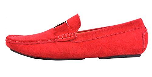 Santimon Mens Boucle En Cuir Mocassins Conduite Slip-on Casual Chaussures De Voiture Pour Hommes Chaussures Moc Red-gold