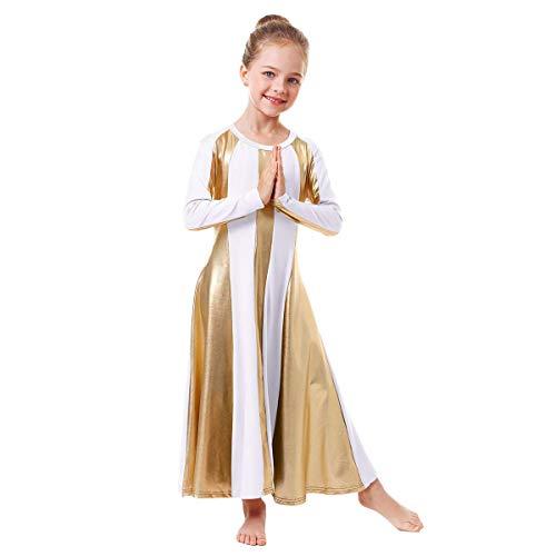 Girls Metallic Gold Praise Dance Robe Dresses Liturgical Lyrical Church Christian Loose Fit Full Length Color Block Swing Gown Ballet Worship Dancewear Tunic Circle Costume White-Gold 9-10 Years