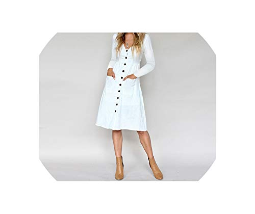Casual Button V-Neck Women Dress Long Sleeve Pocket Shirt Office Lady Dress Vintage Chiffon Summer Dress,White,XL -