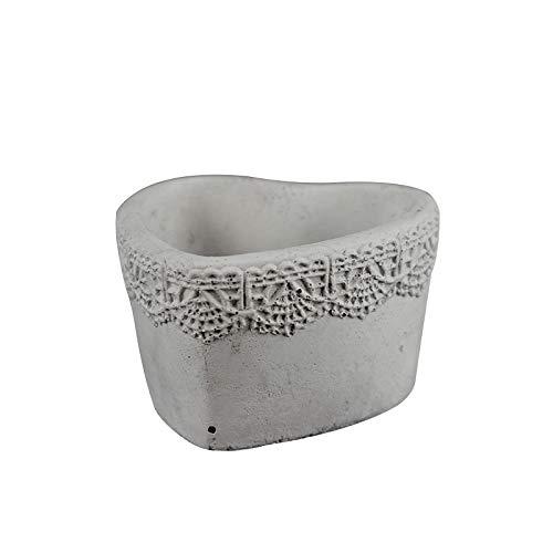 Nicole - Molde para maceta de hormigón, forma de corazón, con patrón de encaje, hecho a mano, para plantas de cemento: Amazon.es: Juguetes y juegos