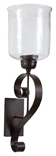 Ashley Furniture Signature Design - Ogilhinn Scroll Design Wall Sconce - Metal & Clear Glass - Traditional - (Glass Corded Pendant Lamp)