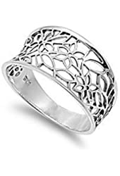 Victorian Style Leaf Filigree Vintage Ring Sterling Silver 925 (Sizes 3-15)
