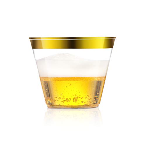Gold Rimmed Plastic Cups, Clear Plastic Tumblers ? Disposable Party, Wedding Plastic Cups, 9 oz - 50 Pack