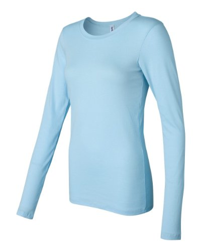Bella Canvas Ladies' Sheer Mini Rib Long-Sleeve T-Shirt - LIGHT AQUA - S