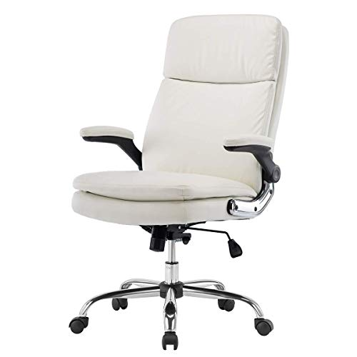 KERMS High Back Office Chair PU Leather Executive Desk Chair with Padded Armrests,Adjustable Ergonomic Swivel Task Chair with Lumbar Support (white1)