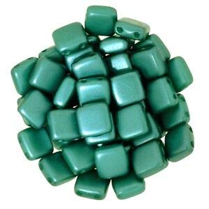 6mm Square Glass Czech 2-Hole Tile Beads Dk Green Pearl (CZM6-25027al) Spacer Beads and Roll Crystal String for Bracelets Jewelry - Lava Tiles Stone