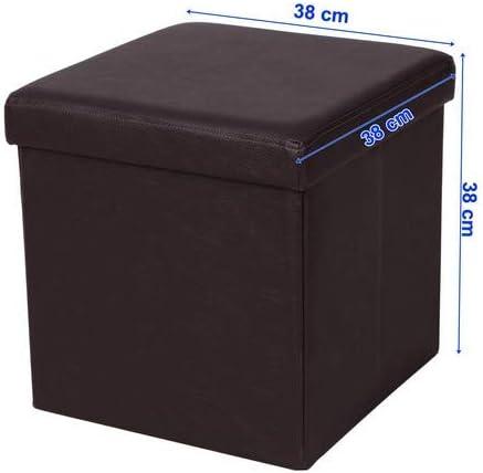 300 kg Marrone LSF10B SONGMICS 38 cm Pouf Cubo Poggiapiedi Sgabello Pieghevole Carico Max