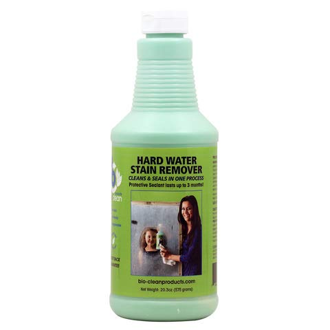 Bio Clean: Eco Friendly Hard Water Stain Remover (20oz Large)- Our Professional Cleaner Removes Tuff Water Stains From Shower doors, Windshields, Windows, Chrome, Tiles, Toilets, Granite, steel e.t.c (The Best Way To Clean Glass)
