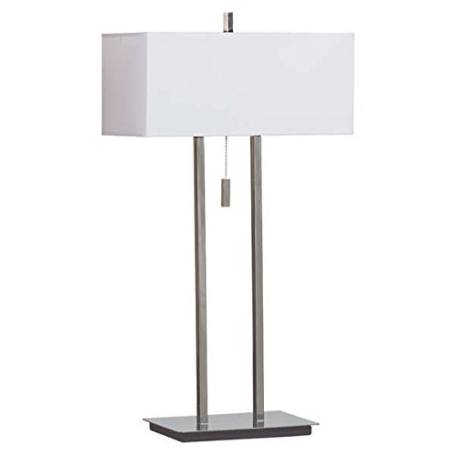 Lamp / Table Lamps, Contemporary Style Fabric Shade Sturbridge Table Lamp OS70598 in Chrome Finish, Assembly Required