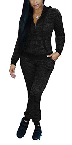 Women Two Piece Tracksuits Print Long Pants Drawstring Jacket with Pockets Sweatsuits Set Jogger Outfits Black M