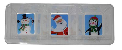 Rectangular Plastic 3-Section Christmas Tray | Party Table Supplies, Serving Platters for Holiday & Festival Season