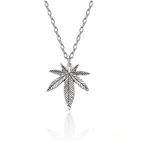 (Personality Plant Leaves Pot Leaf Necklace,Antique Large Maple Leaves Pendant Necklace for Women Man Birthday Party Gifts (Silver))