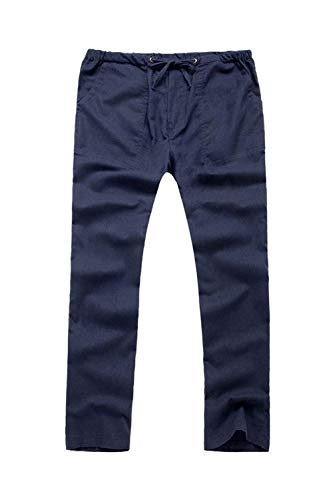 Da Laccetti Stile Lino In Vita Elastici Semplice Uomo Navyblue E Unita Casual Tinta Con Pantaloni Tasche qzwgURtWW