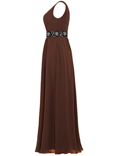 Prom Dresses Gown Long Neck Lace Tank Chiffon Brown Women's V ANTS Rzqpa8q