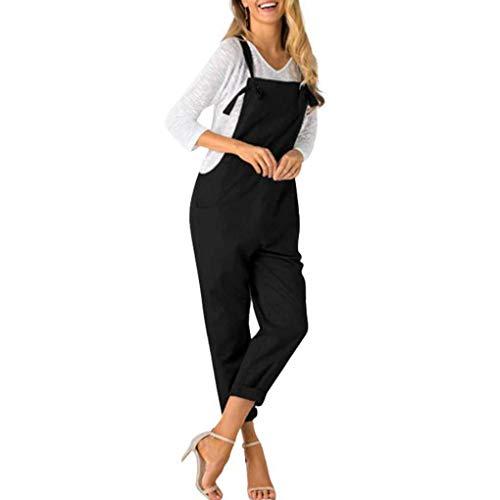 Black Windy5 Salopette Slim Bretelles Jumpsuit Femmes Solid Bodysuit Longues Spaghetti Poches rqvrXxw