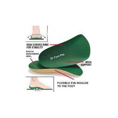 Dr Foot Pro Supination Insoles (3/4 length) Pair Large