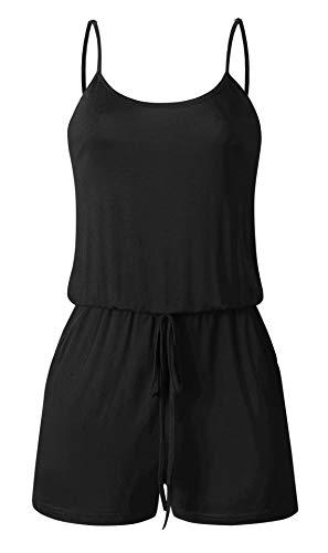 BTFBM Women Summer Adjustable Straps Sleeveless Drawstring Solid One Piece Shorts Pant Jumpsuit Romper