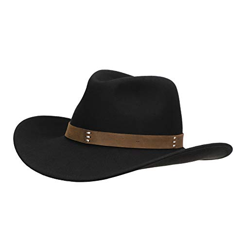 Jack&Arrow Cowboy Hat Men Black Wool Felt Western Outback Gambler Wide Brim Adjustable Sizes Crushable L