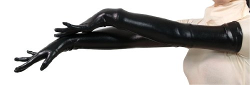 Seeksmile Unisex Shiny Metallic Spandex Glove (56 CM/22 inches, Black)