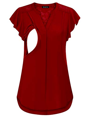 DayDayFun Women's Stylish Flutter Sleeve Lace Top Pleated Casual Solid Color Tunic Fitted V Neck Pregnancy Breastfeeding Shirts (Red XL)