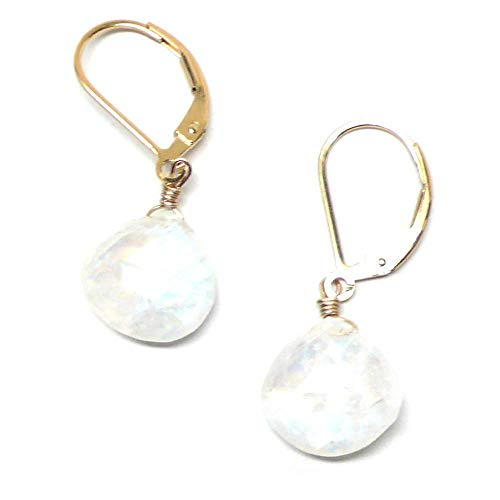 Rainbow Moonstone Briolette Lever Back Earrings Gold-Filled Custom