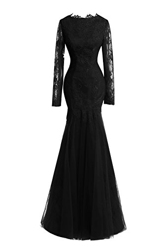 Gowns Formal Mermaid Evening Sleeves Long Bridal Prom Black Dresses Women's Lace Bess w87HF7