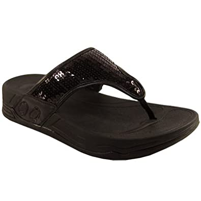 f762ff14be7eaf Womens Black Sequin Wedge Flip Flop Sandals  Amazon.co.uk  Shoes   Bags