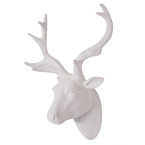 Animal Head Wall Art Deer head Wall Art Decor Resin White Fake Furry/Felt/Velvety Deer Head With White Antlers For Wall Mount Decoration Size 10