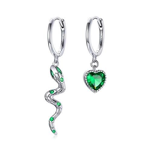 Qings Pendientes de Serpiente & Corazón - Pendientes Plata de Ley 925 Asimetricos Colgantes Serpiente con Circonita Cúbica Verde Pequeños Animal Pendientes de aro para Mujer Niña a buen precio