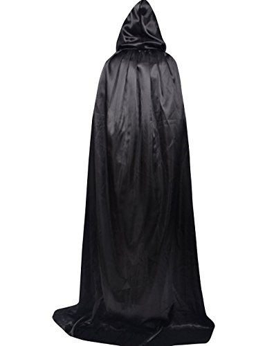 Obi Wan Kenobi Costume Pattern (LETSQK Unisex Full Length Hooded Cloak Role Cape Cosplay Halloween Costumes Black)