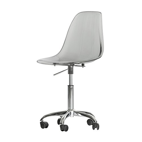 Cheap South Shore Modern Office Chair with Wheels – Adjustable Height, Clear Smoked Gray