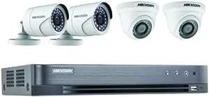 نظام كاميرا أمان CCTV فل اتش دي 1080P من هايكفيجن 4CH - الكل في واحد مع كاميرا H.265 4 ميجابكسل لايت DVR (بدون HDD)، 2 رصاص، كاميرا برجين وإكسسوارات (كابل وموصلات Cat6)