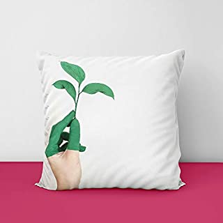 31Ma4S6NiBL. SS320 Green Plant Take Hand Square Design Printed Cushion Cover