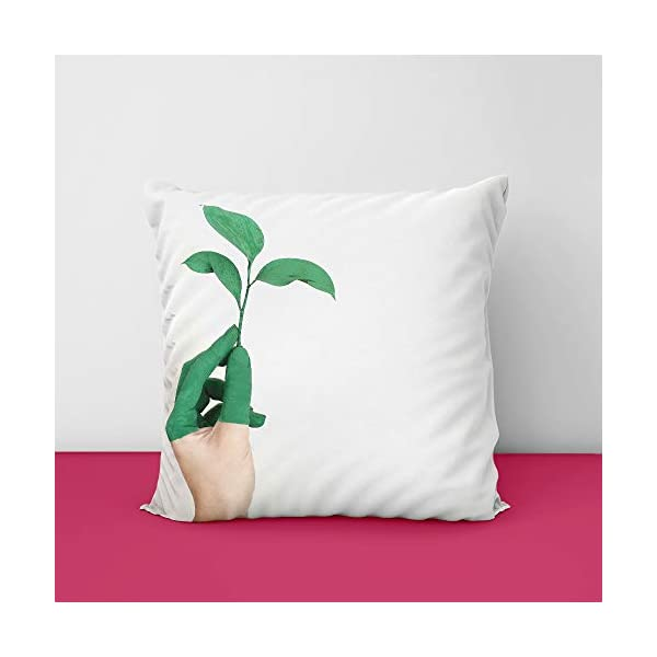 31Ma4S6NiBL Green Plant Take Hand Square Design Printed Cushion Cover