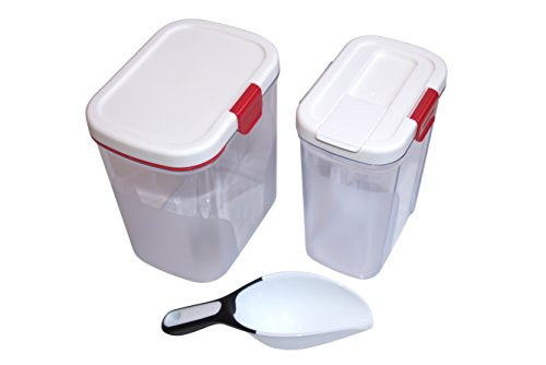 Flour Keeper with Built-in Leveler and Sugar Canister With Bonus Scoop! Flour Canister