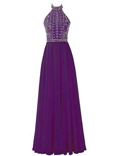 Gown Beaded Purple Chiffon Prom Halter Sexy Long Evening Women's Solovedress Dress Backless zPqxfTwf