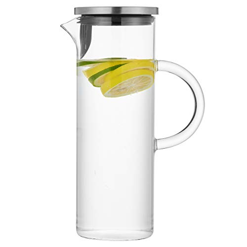 50 Ounces Glass Pitcher with Handle and Lid, Handmade Water Jug for Hot/Cold Water, Ice Lemon Tea and Juice - Ounce Beverage 50