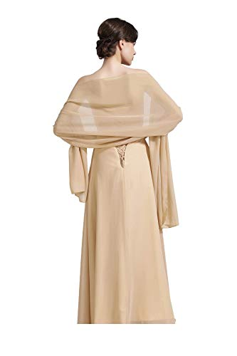 (Sheer Soft Chiffon Bridal Women's Shawl For Special Occasions Champagne)