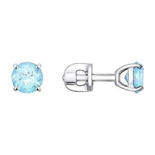 Paradis Love Sokolov 925 Sterling Silver Stud Earrings with Swiss Topaz Zirconia Light Blue Rhodium - Bracelet Blue Pendant Topaz