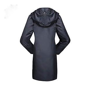 Qivor Waterproof clothing Raincoat Outdoor Walking Slim Fashion Windbreaker Extended One-piece Raincoat (Black) Men's snow raincoat (Color : Black, Size : XXL)